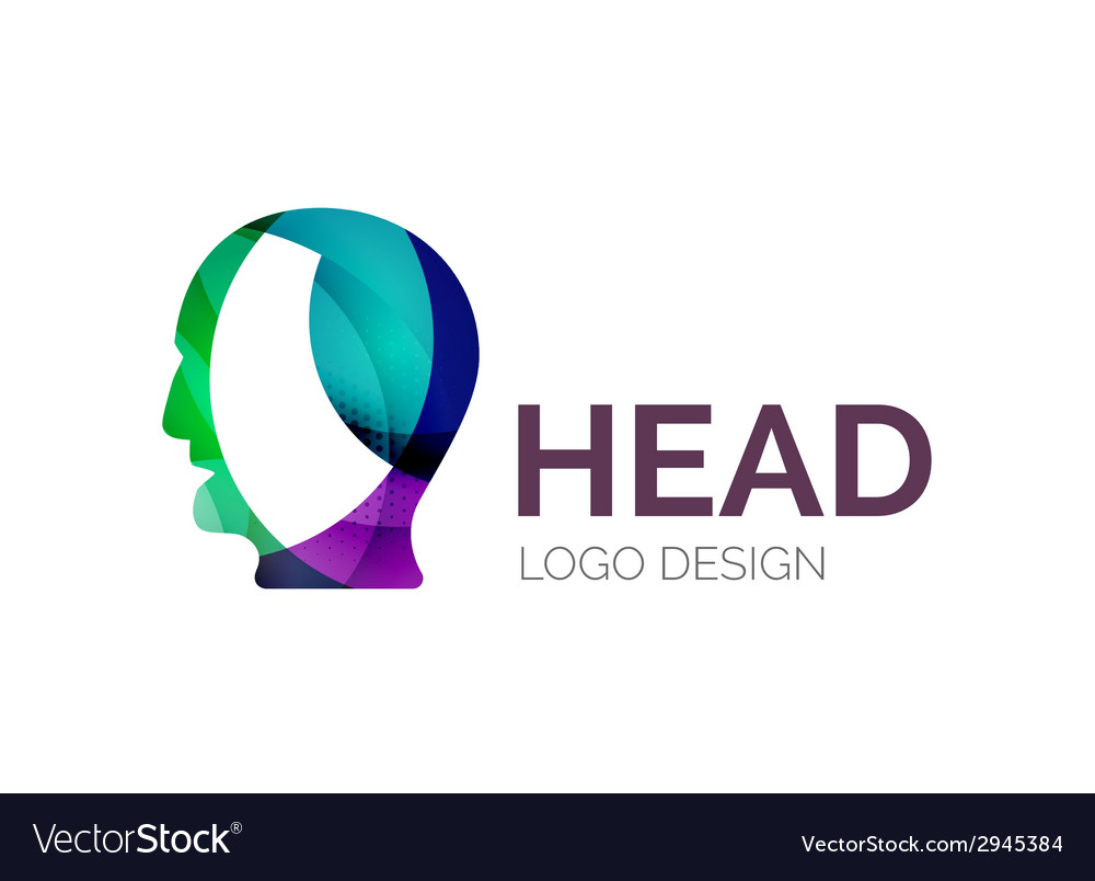 Human head logo design made of color pieces vector | Price: 1 Credit (USD $1)