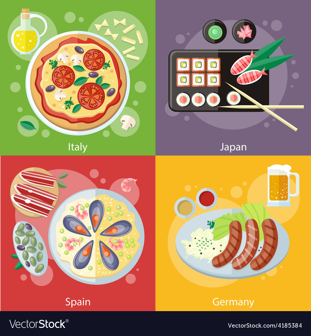 Italy japan spain and germany food vector | Price: 1 Credit (USD $1)