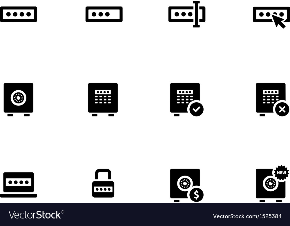 Password icons on white background vector | Price: 1 Credit (USD $1)