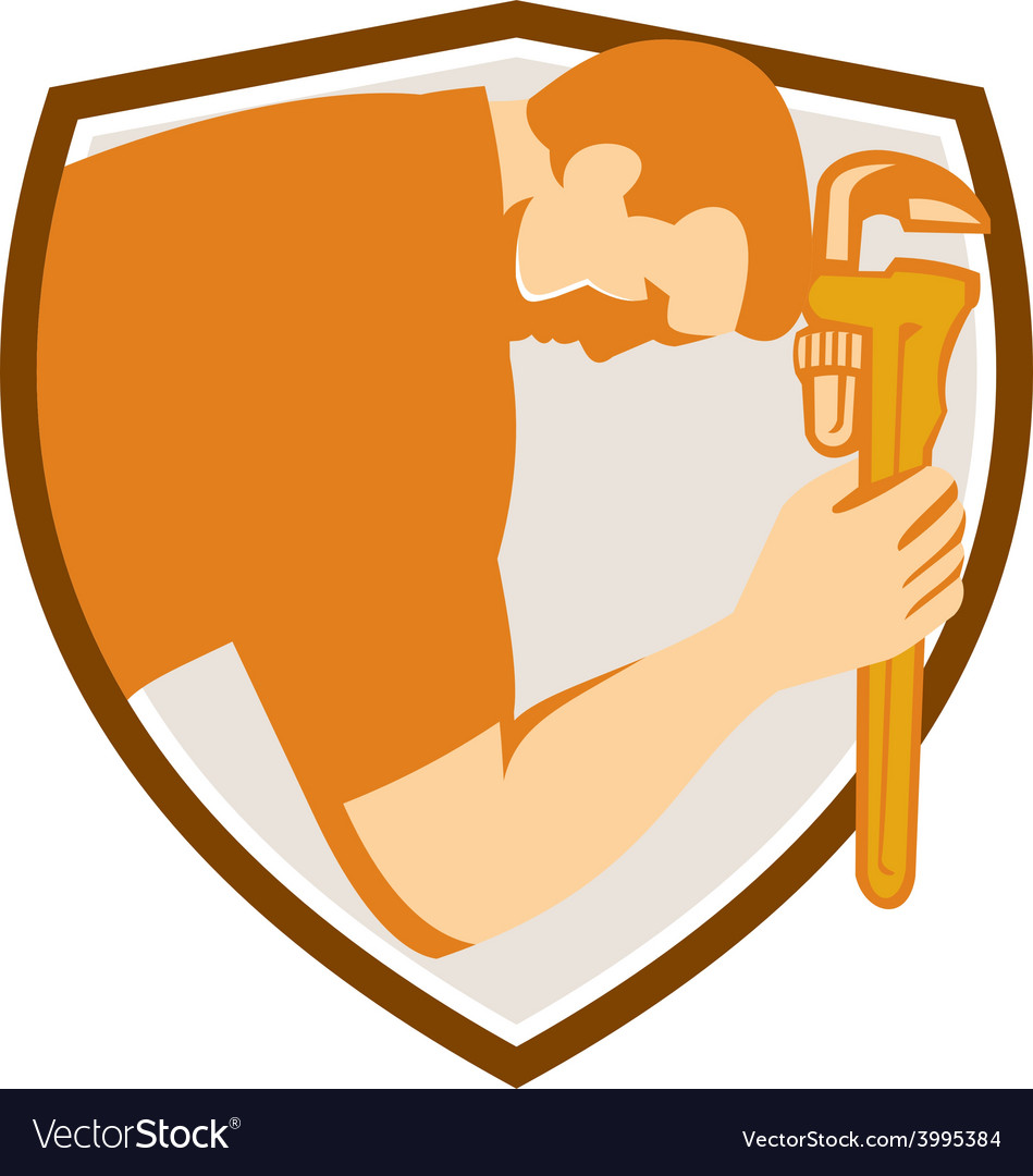 Plumber bowing monkey wrench shield retroq vector | Price: 1 Credit (USD $1)