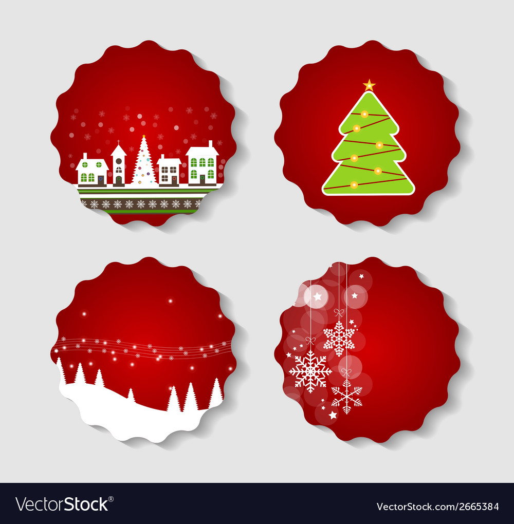 Set of labels with christmas balls stars and vector | Price: 1 Credit (USD $1)