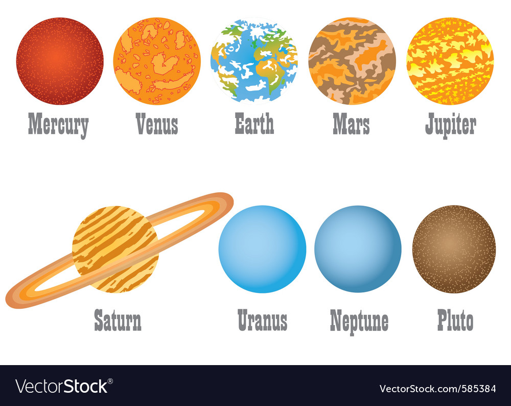Set of nine planets vector | Price: 1 Credit (USD $1)