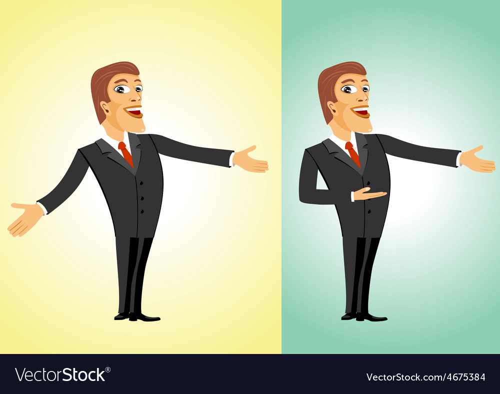 Successful business man welcoming you vector | Price: 1 Credit (USD $1)