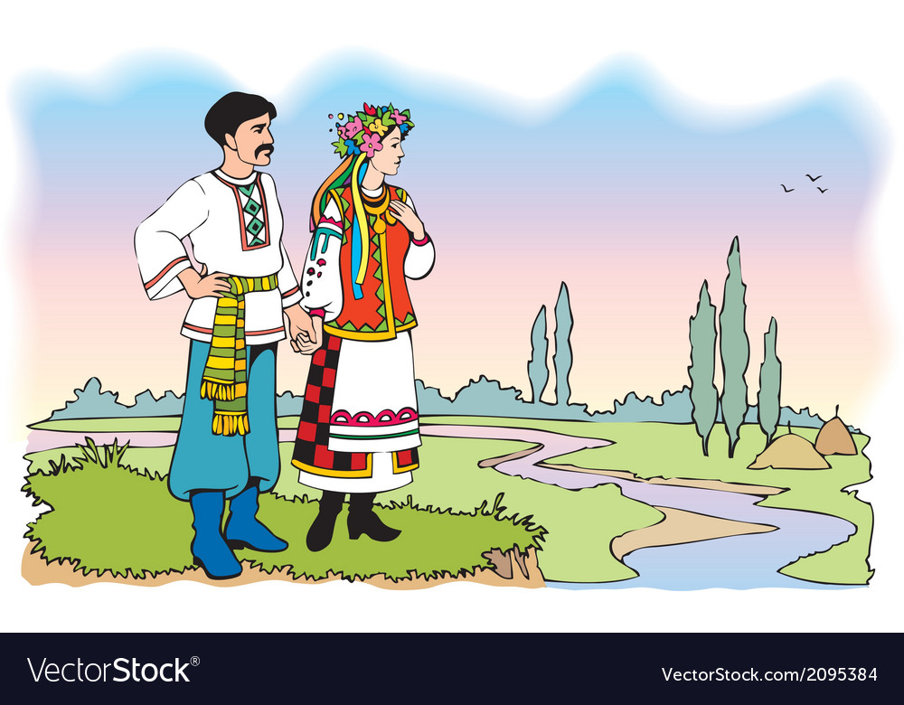 Ukrainian couple in colorful national costumes vector | Price: 1 Credit (USD $1)