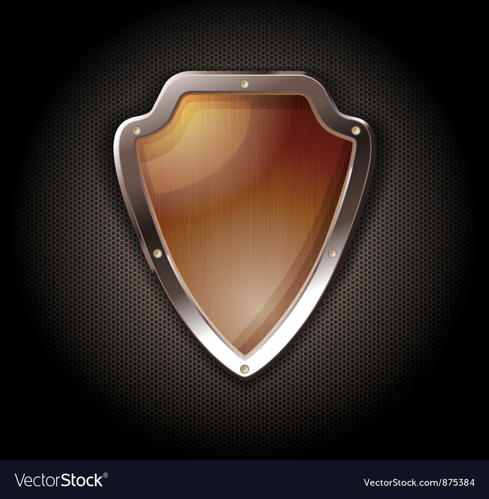 Wooden shield on a metal perforated background vector | Price: 1 Credit (USD $1)