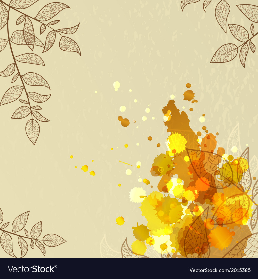 Background with orange blots and leaves vector | Price: 1 Credit (USD $1)