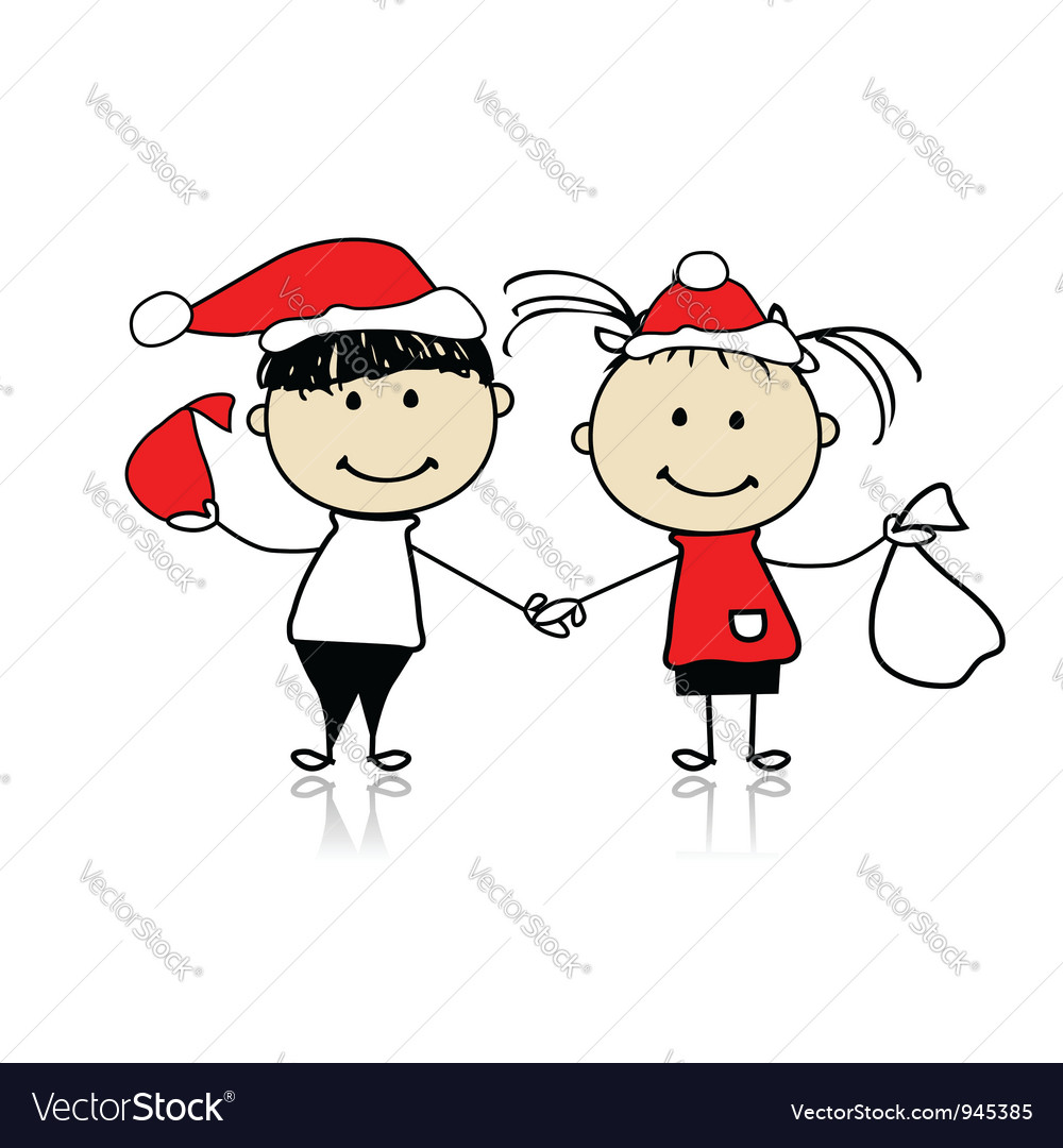 Children with christmas gifts vector | Price: 1 Credit (USD $1)