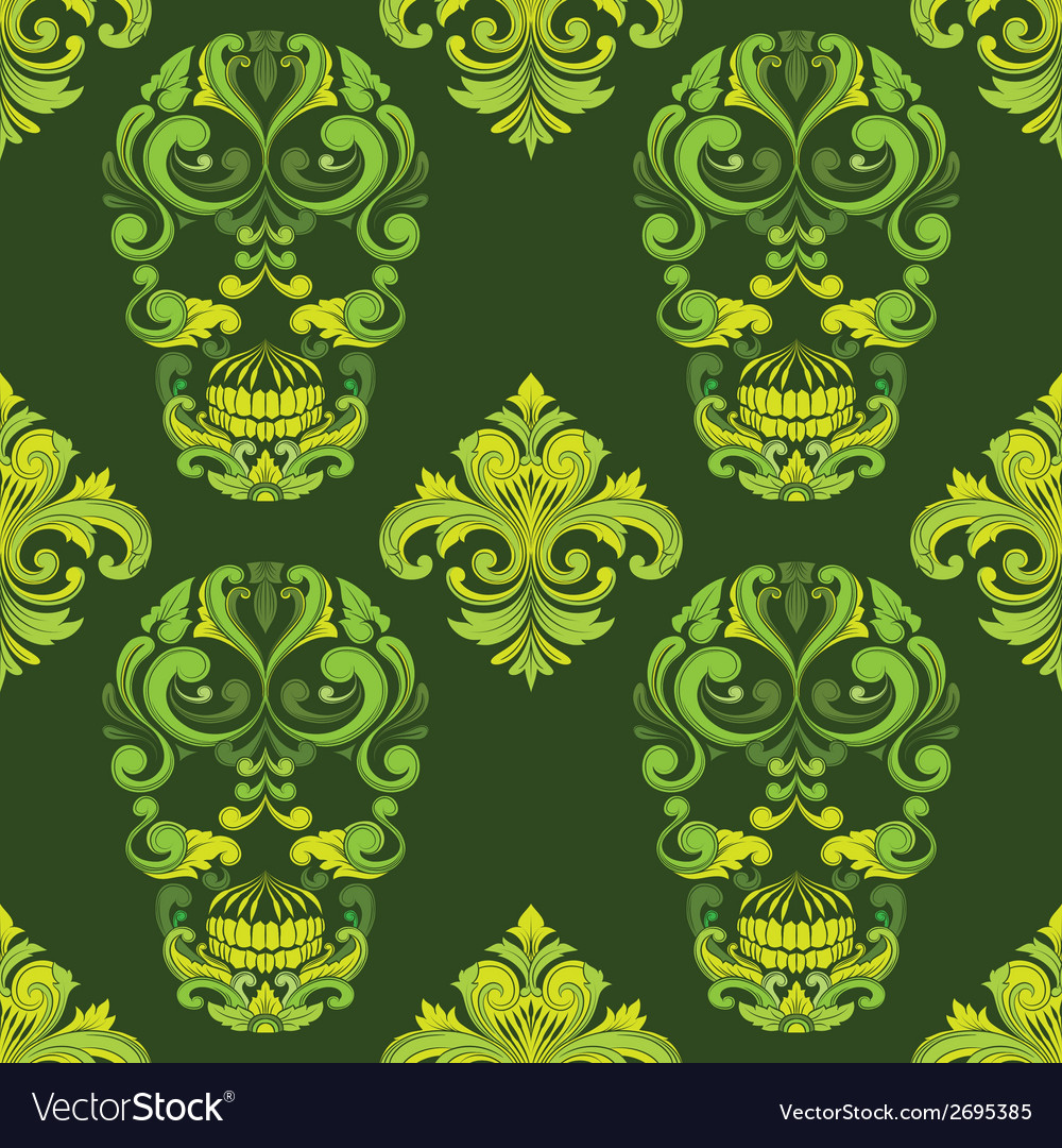 Classic skull ornamental pattern vector | Price: 1 Credit (USD $1)
