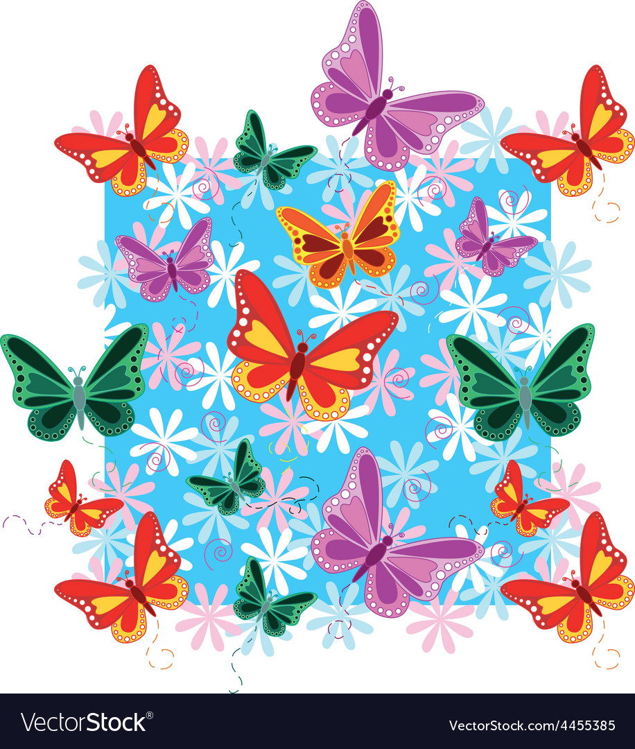 Colorful seamless butterfly pattern vector | Price: 1 Credit (USD $1)