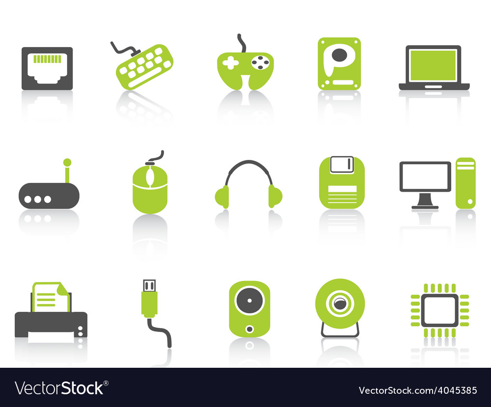 Computer device icons set green series vector | Price: 1 Credit (USD $1)