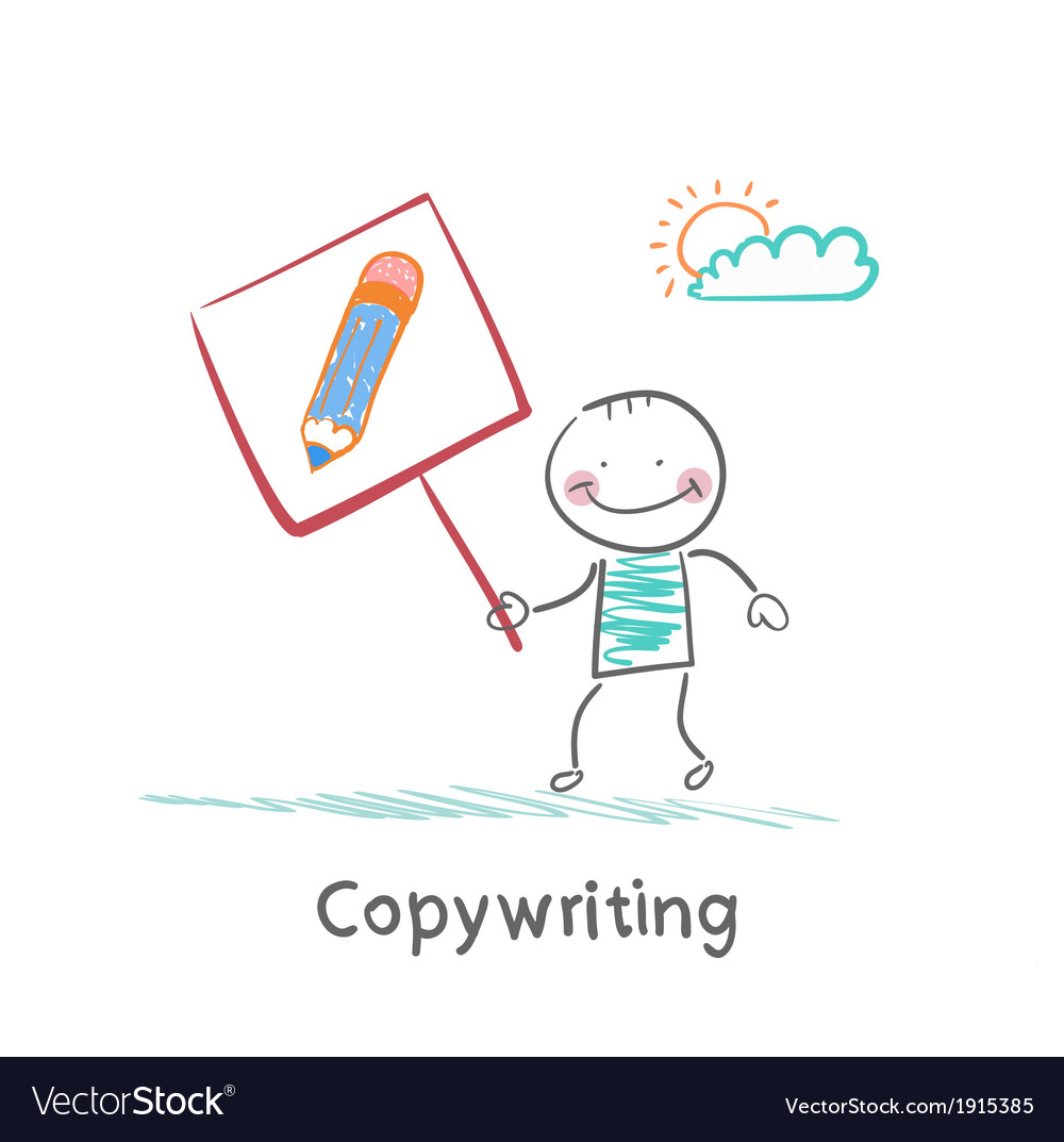 Copywriter is holding a plate with a pencil vector | Price: 1 Credit (USD $1)