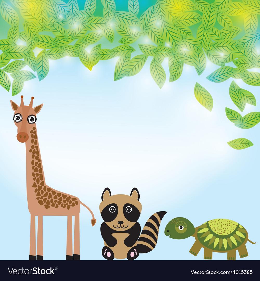 Giraffe raccoon and turtle funny cartoon animals vector | Price: 1 Credit (USD $1)
