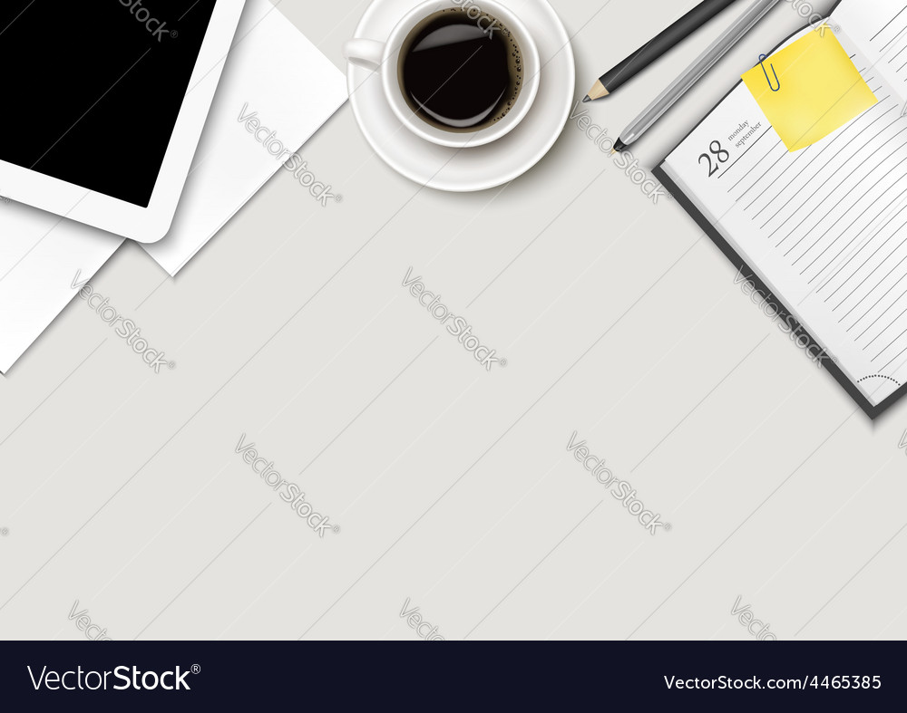 Office workspace - coffee tablet paper and some vector | Price: 3 Credit (USD $3)