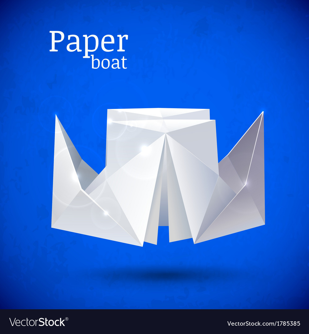 Origami paper blue boat vector | Price: 1 Credit (USD $1)