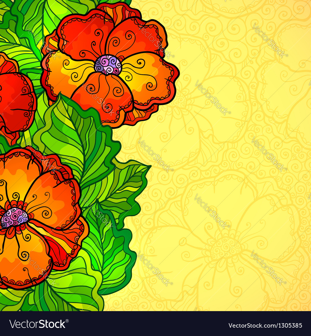 Poppy flowers greeting card template vector | Price: 1 Credit (USD $1)