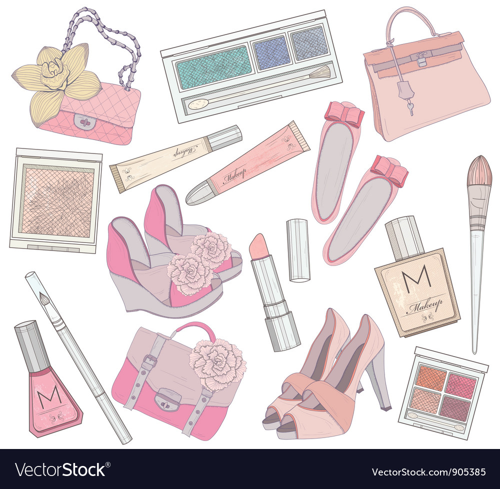 Shoes makeup and bags element set vector | Price: 3 Credit (USD $3)