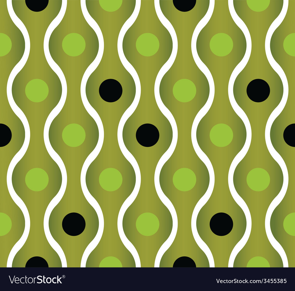 Simplistic green wavy lines and dots seamless vector | Price: 1 Credit (USD $1)