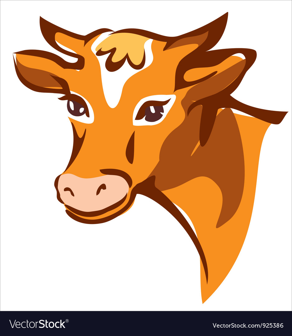 Bright brown smiling cow portrait vector | Price: 1 Credit (USD $1)