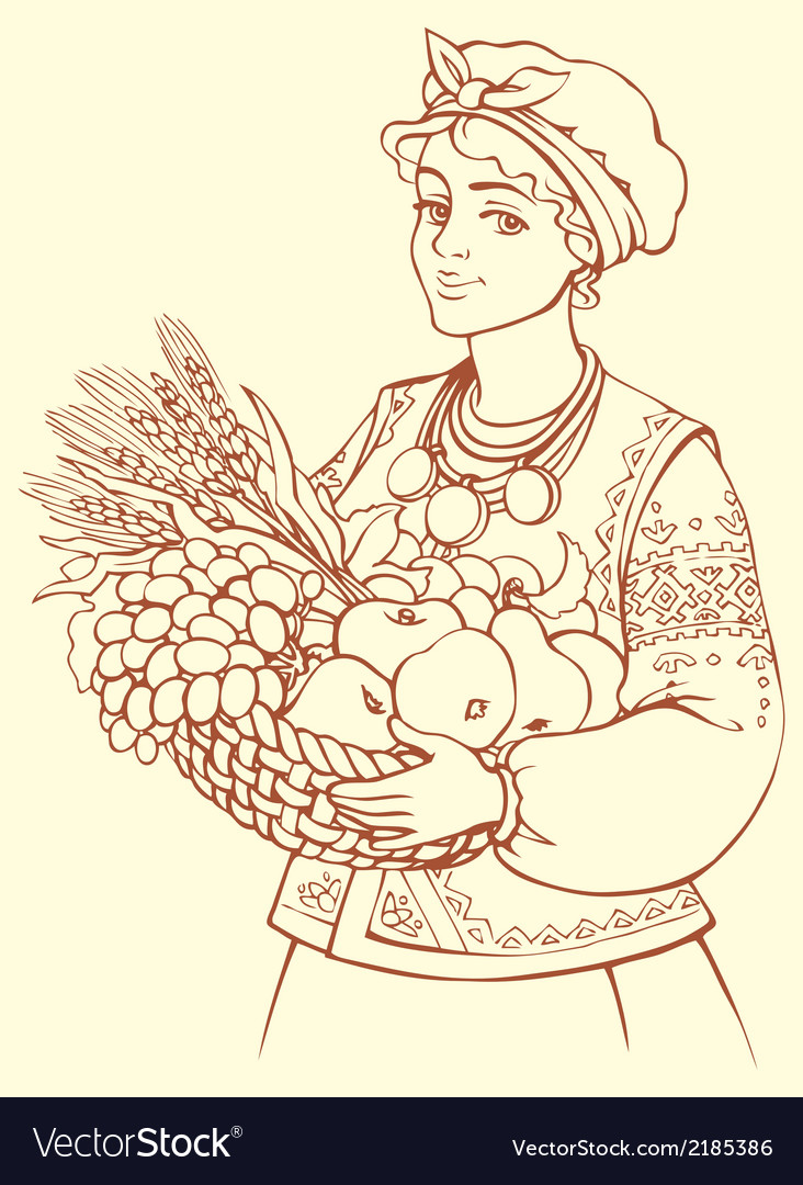 Girl in folk waistcoat holding tray with fruits vector | Price: 1 Credit (USD $1)