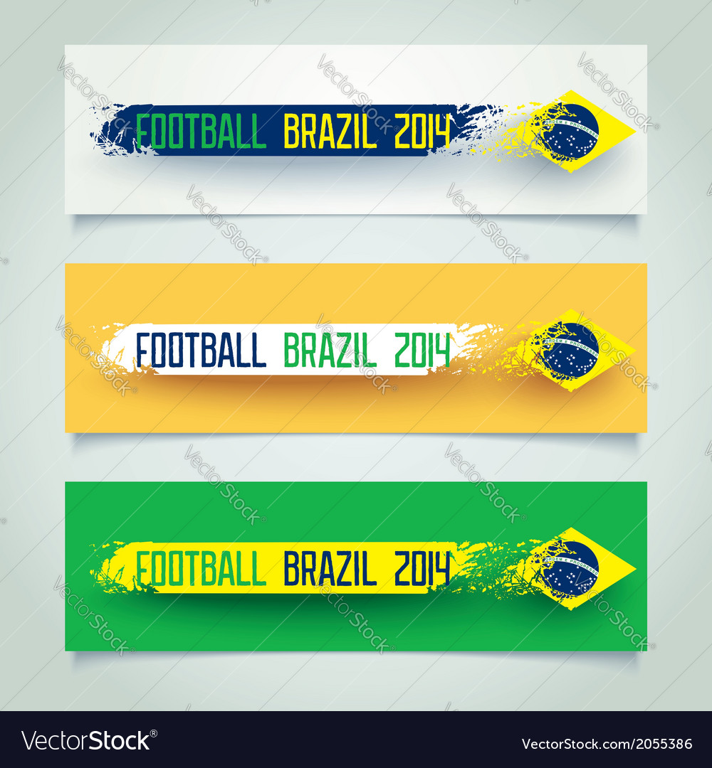 Grunge banner with brazilian flag vector | Price: 1 Credit (USD $1)