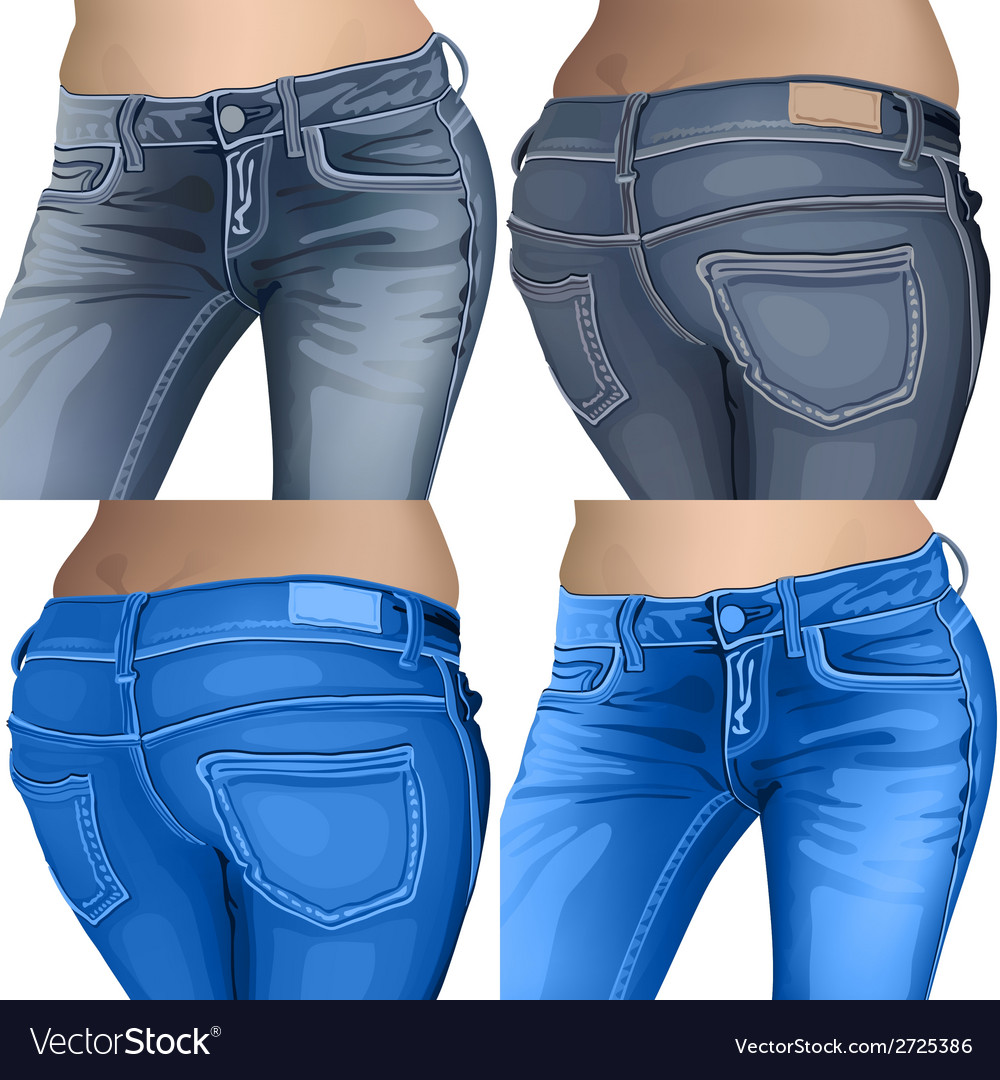Jeans female jeans girl female fashion young denim vector | Price: 1 Credit (USD $1)