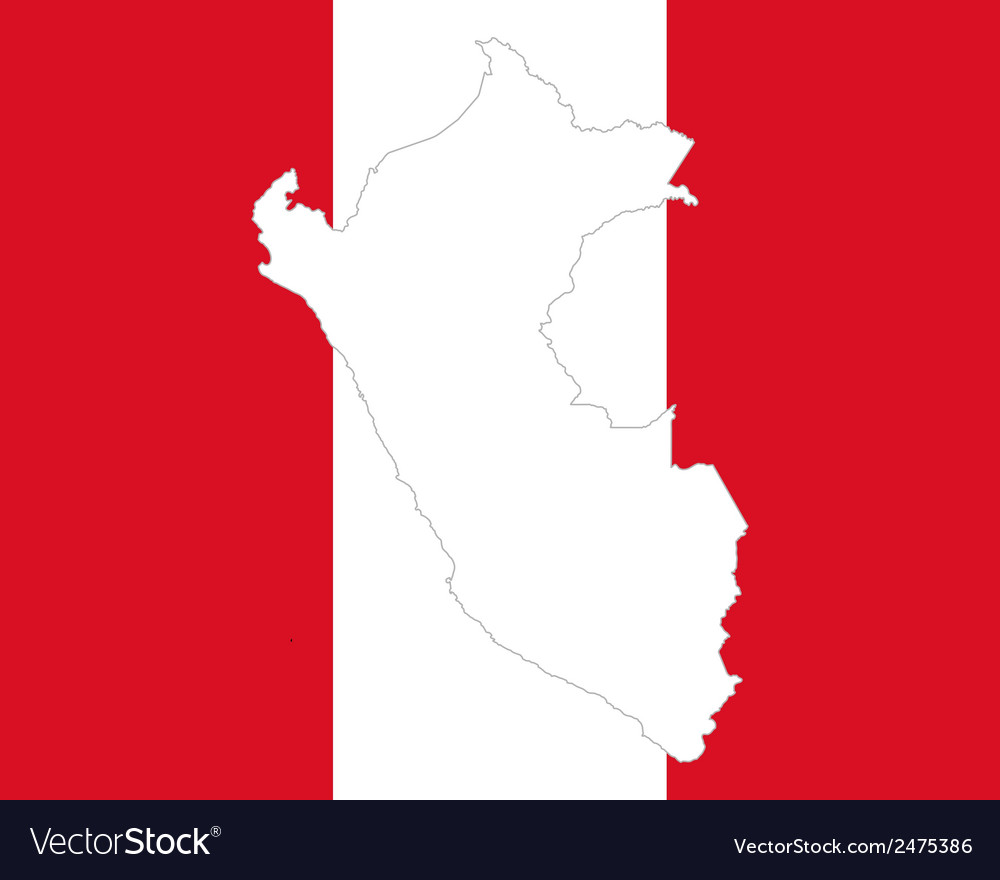 Map and flag of peru vector | Price: 1 Credit (USD $1)