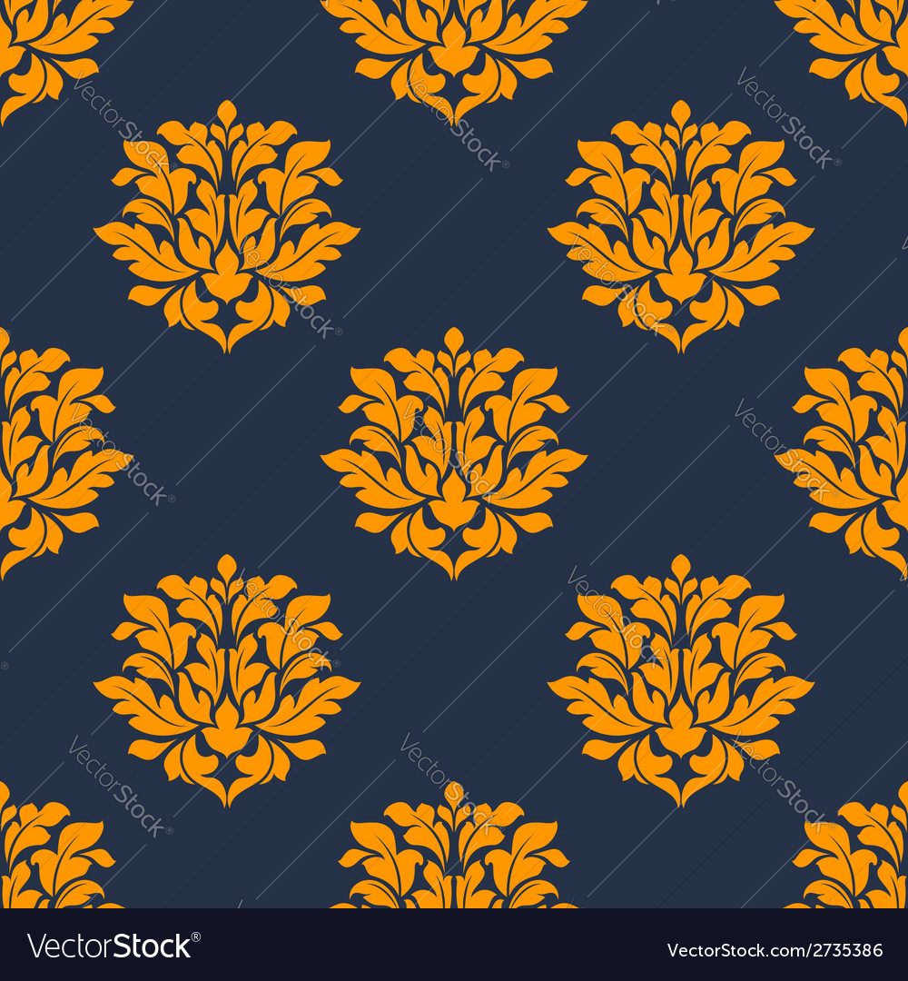 Orange colored floral seamless pattern vector | Price: 1 Credit (USD $1)