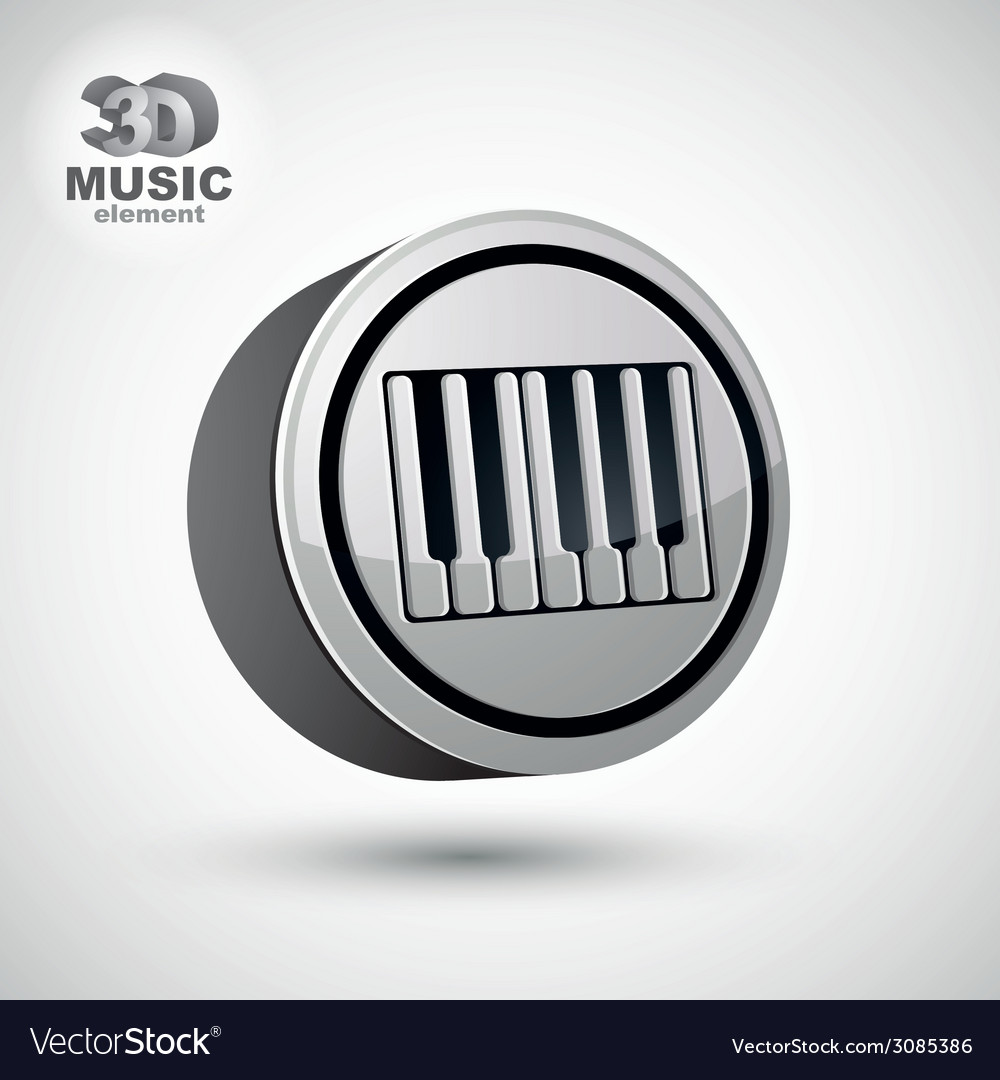 Piano keyboard icon isolated 3d music theme design vector | Price: 1 Credit (USD $1)