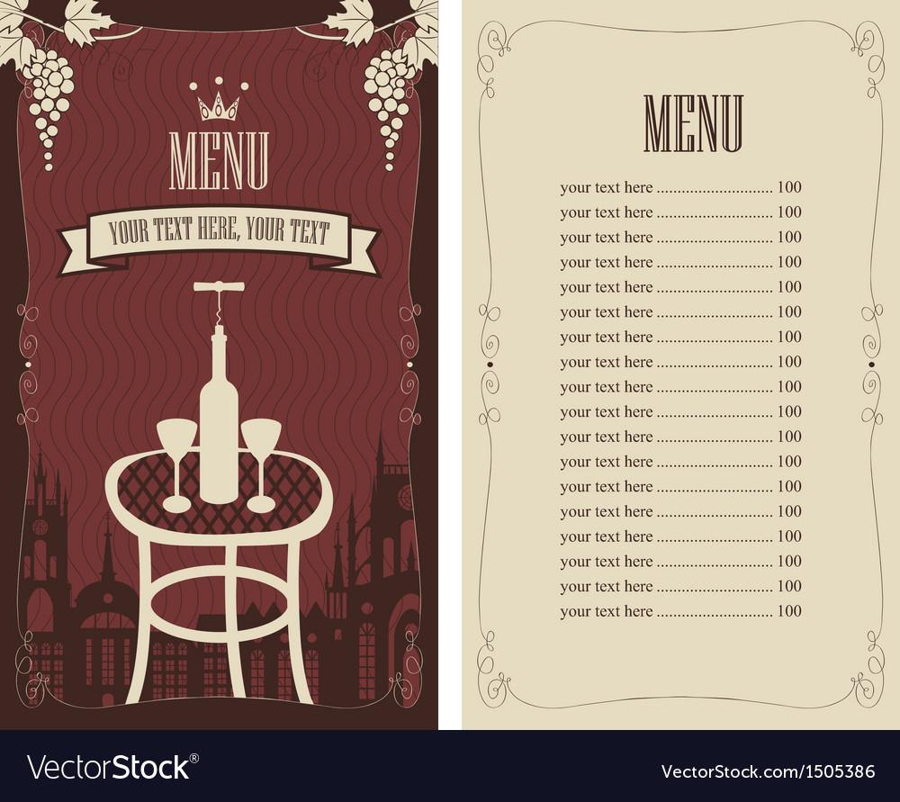Wine list vector | Price: 1 Credit (USD $1)