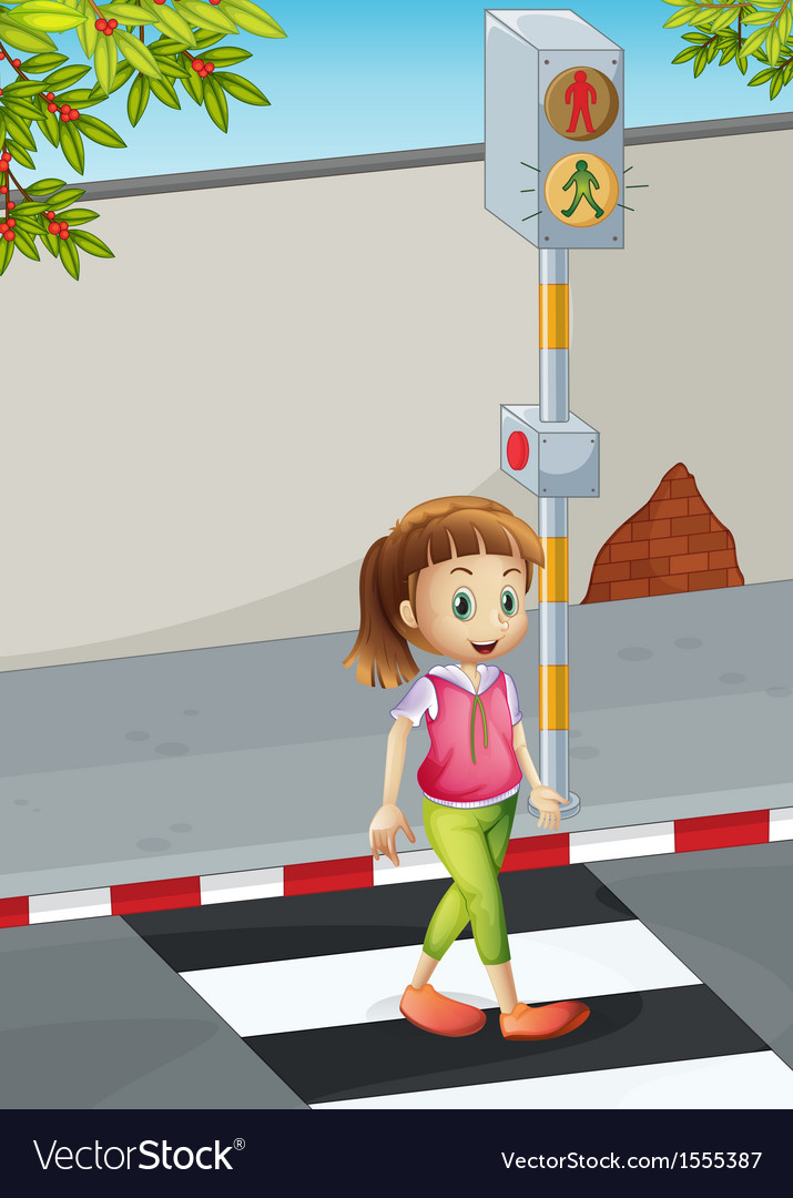 A young lady at the pedestrian lane vector | Price: 1 Credit (USD $1)