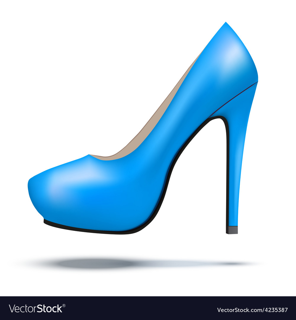 Blue bright modern high heels pump woman shoes vector | Price: 1 Credit (USD $1)