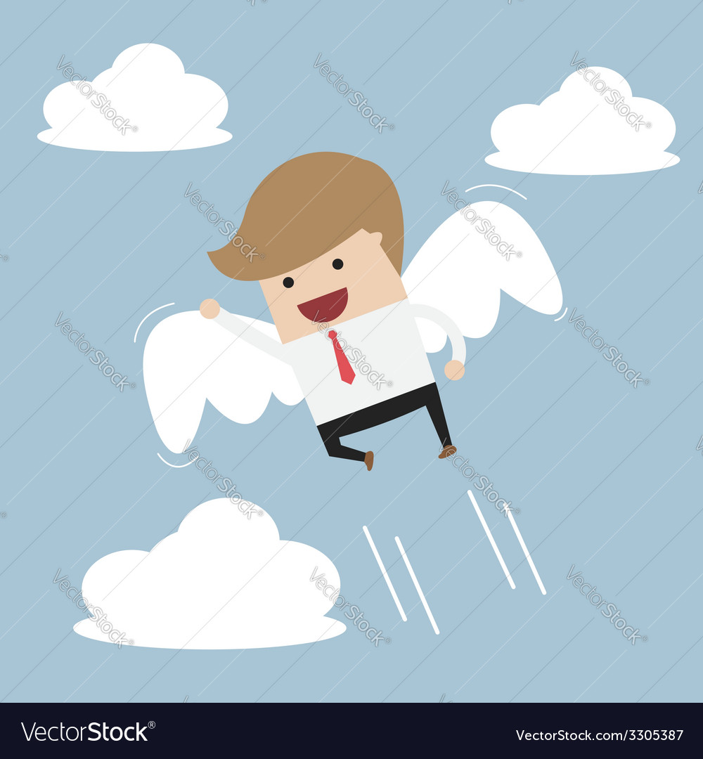 Businessman flying with wings vector | Price: 1 Credit (USD $1)