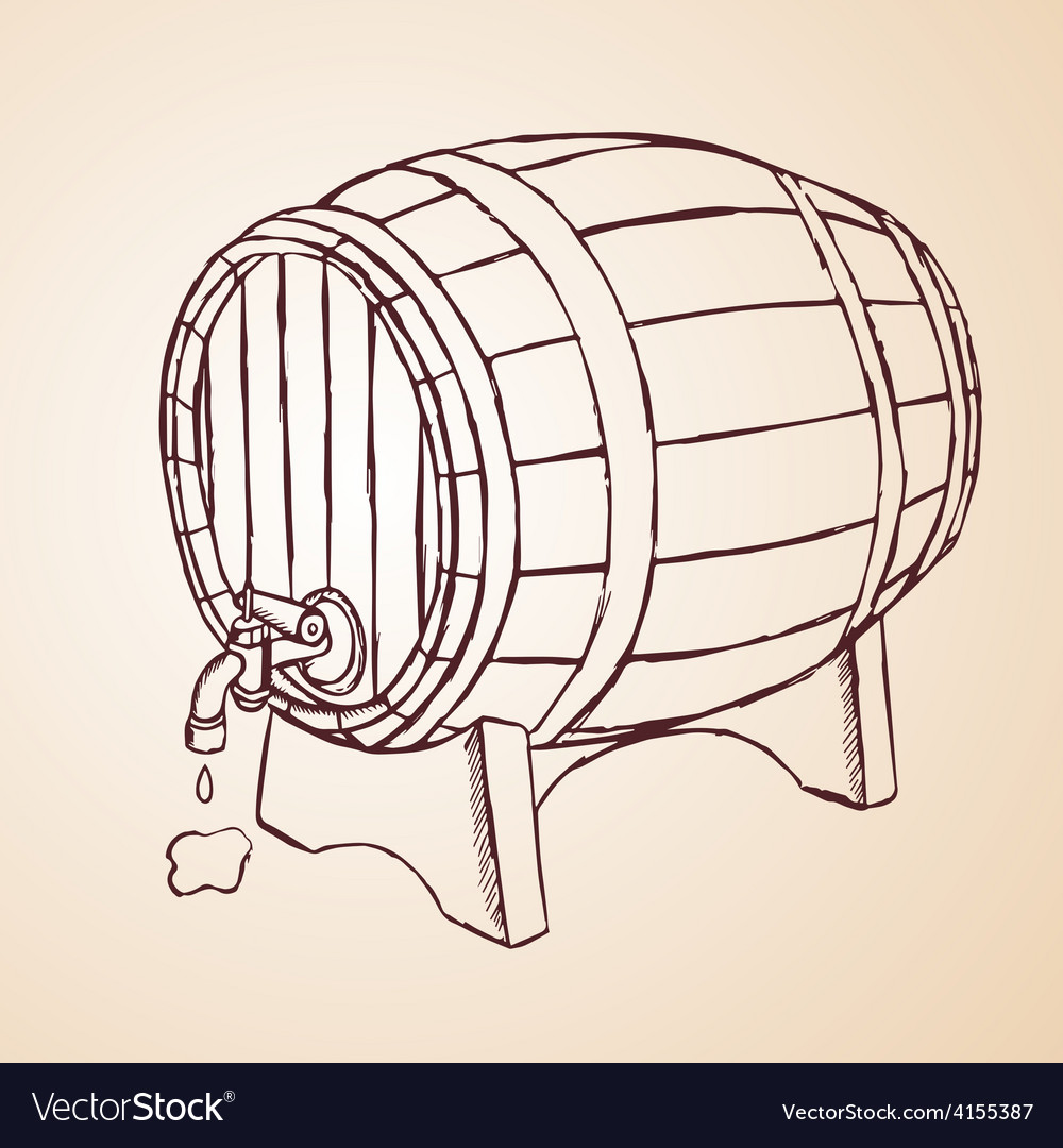 Cask of wine hand drawn vector | Price: 1 Credit (USD $1)