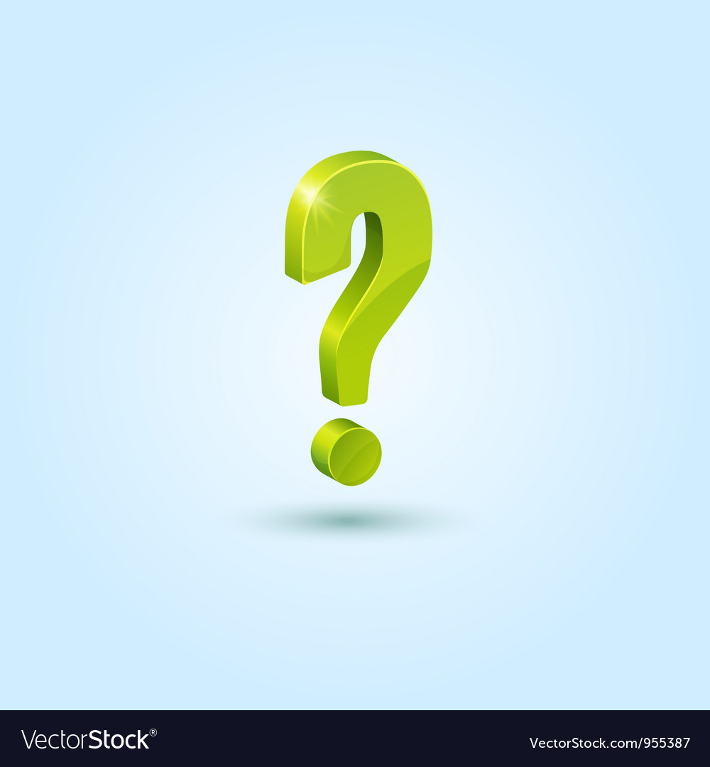 Green question mark isolated on blue background vector