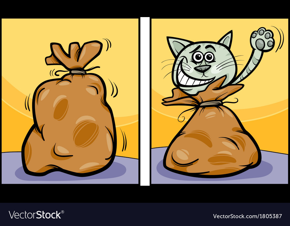 Let the cat out of the bag cartoon vector | Price: 1 Credit (USD $1)