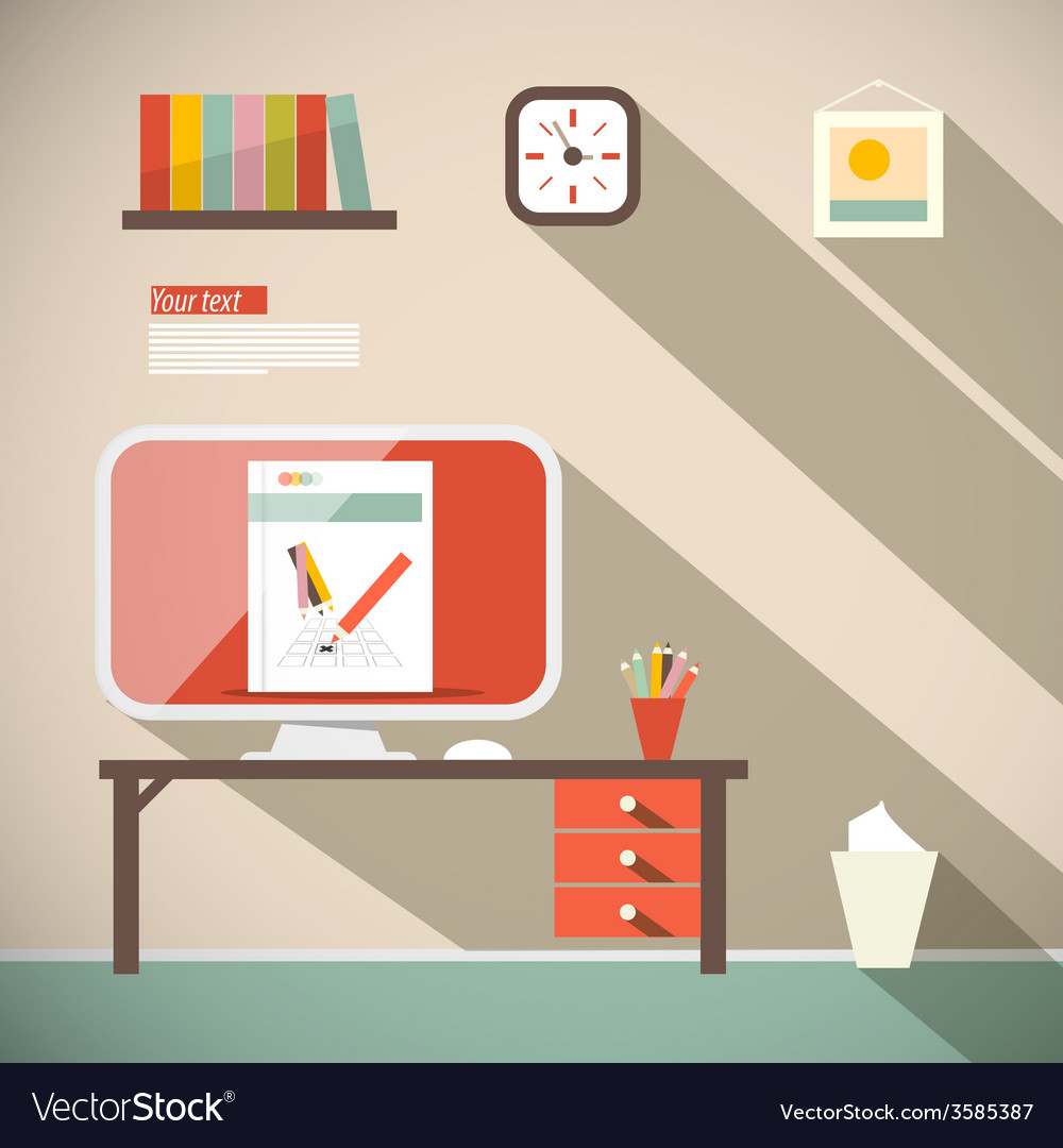 Office flat design vector | Price: 1 Credit (USD $1)