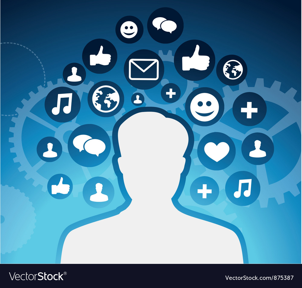 Social media icons - male silhouette - concept vector | Price: 1 Credit (USD $1)
