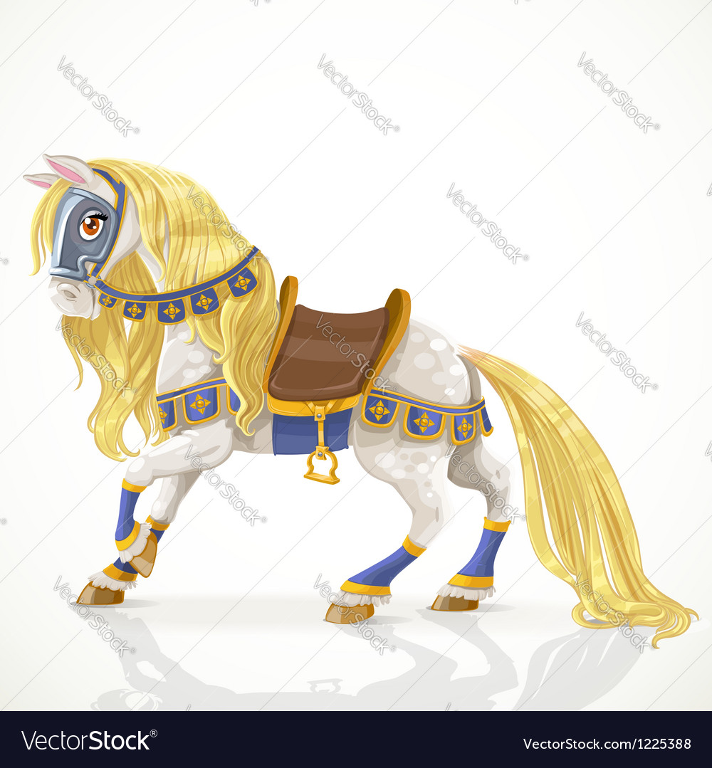 Beautiful white horse with a golden mane in harnes vector | Price: 3 Credit (USD $3)