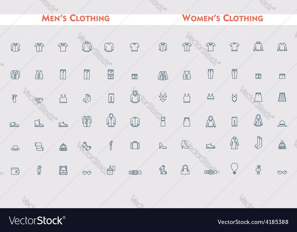 Big linear clothes set vector | Price: 1 Credit (USD $1)