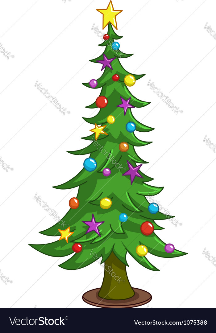 Cartoon christmas tree vector | Price: 1 Credit (USD $1)