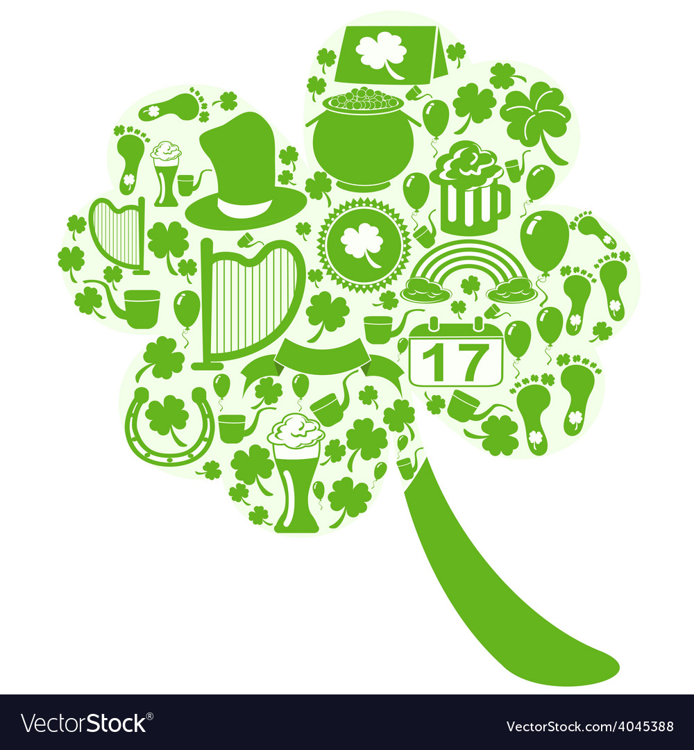 Clover leaf with st patrick icons vector | Price: 1 Credit (USD $1)