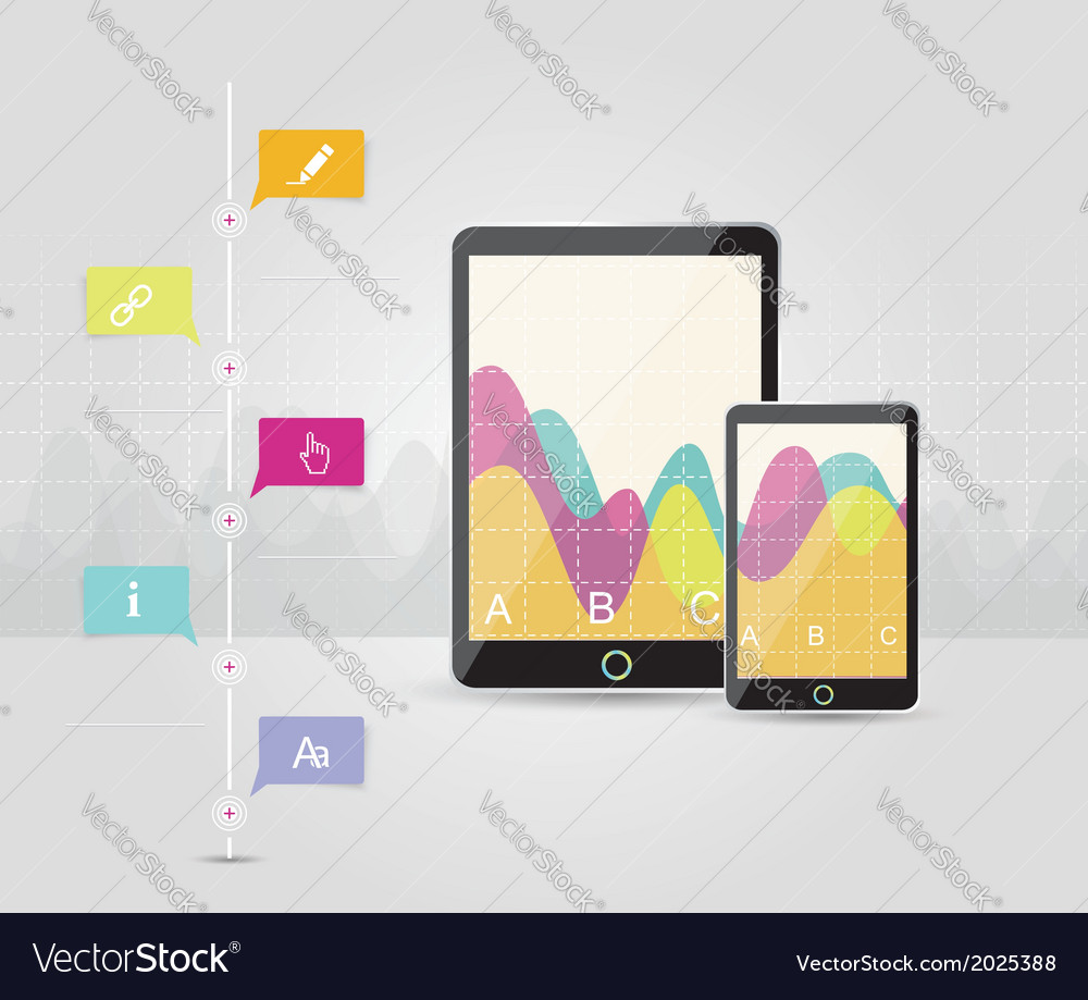 Digital tablets infographic elements it industry vector | Price: 1 Credit (USD $1)