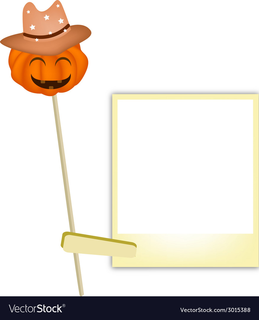 Halloween pumpkin in cowboy hat with blank photos vector | Price: 1 Credit (USD $1)