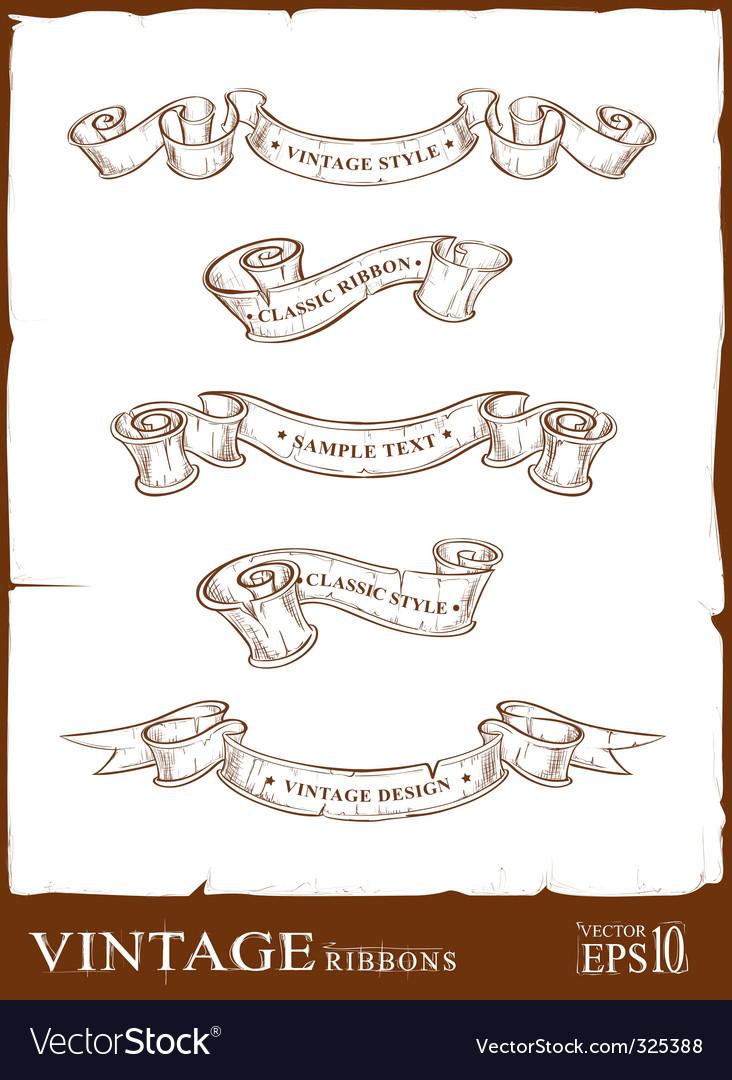 Vintage ribbons set vector | Price: 1 Credit (USD $1)