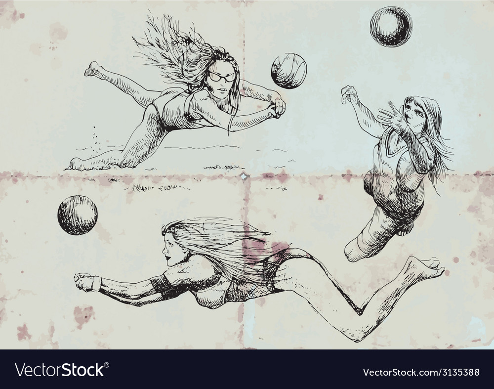 Volleyball players vector | Price: 1 Credit (USD $1)