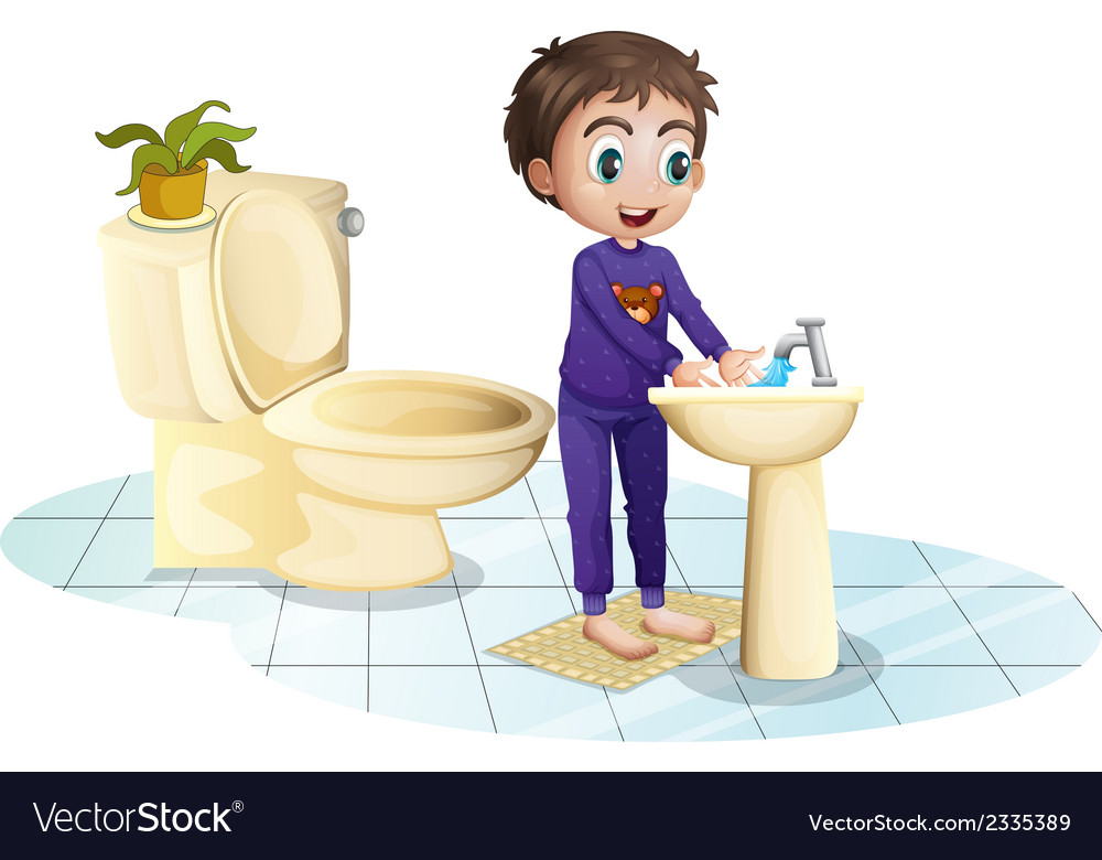 A boy washing his hands at the sink vector   Price: 3 Credit (USD $3)