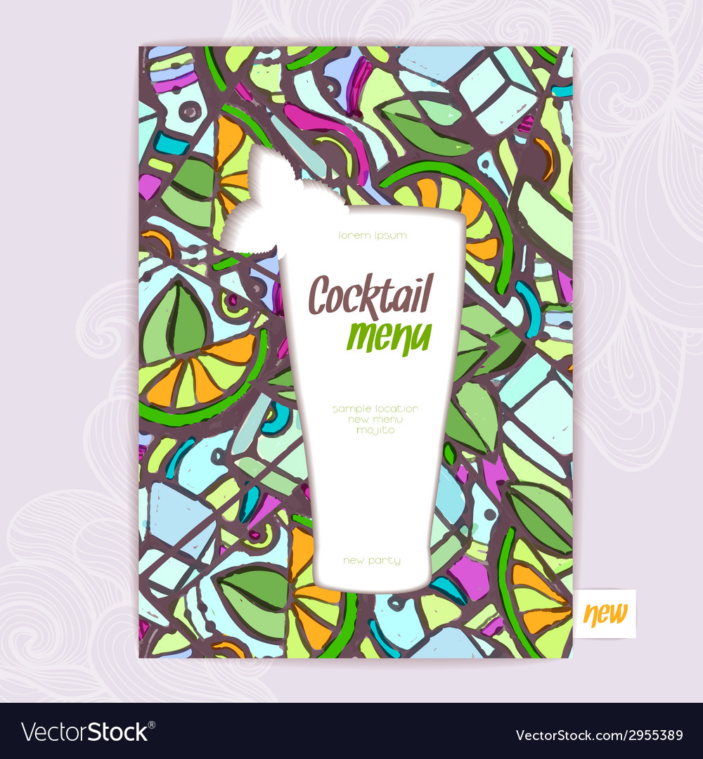 Decorative card menu with cocktail vector | Price: 1 Credit (USD $1)