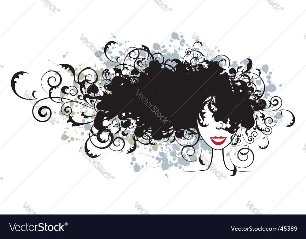 Floral hairstyle woman face silhouette vector | Price: 1 Credit (USD $1)