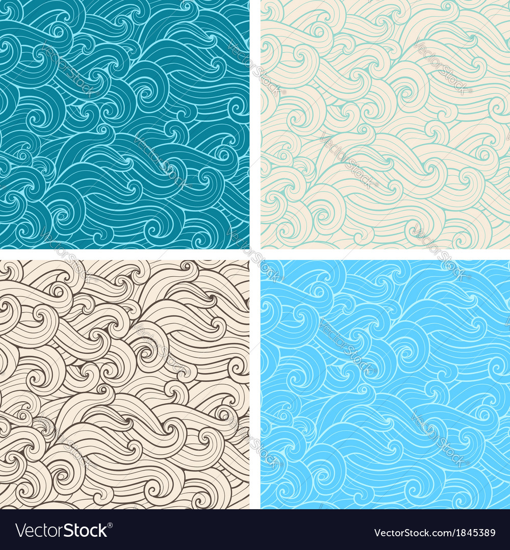 Hand drawn wavy seamless pattern vector | Price: 1 Credit (USD $1)