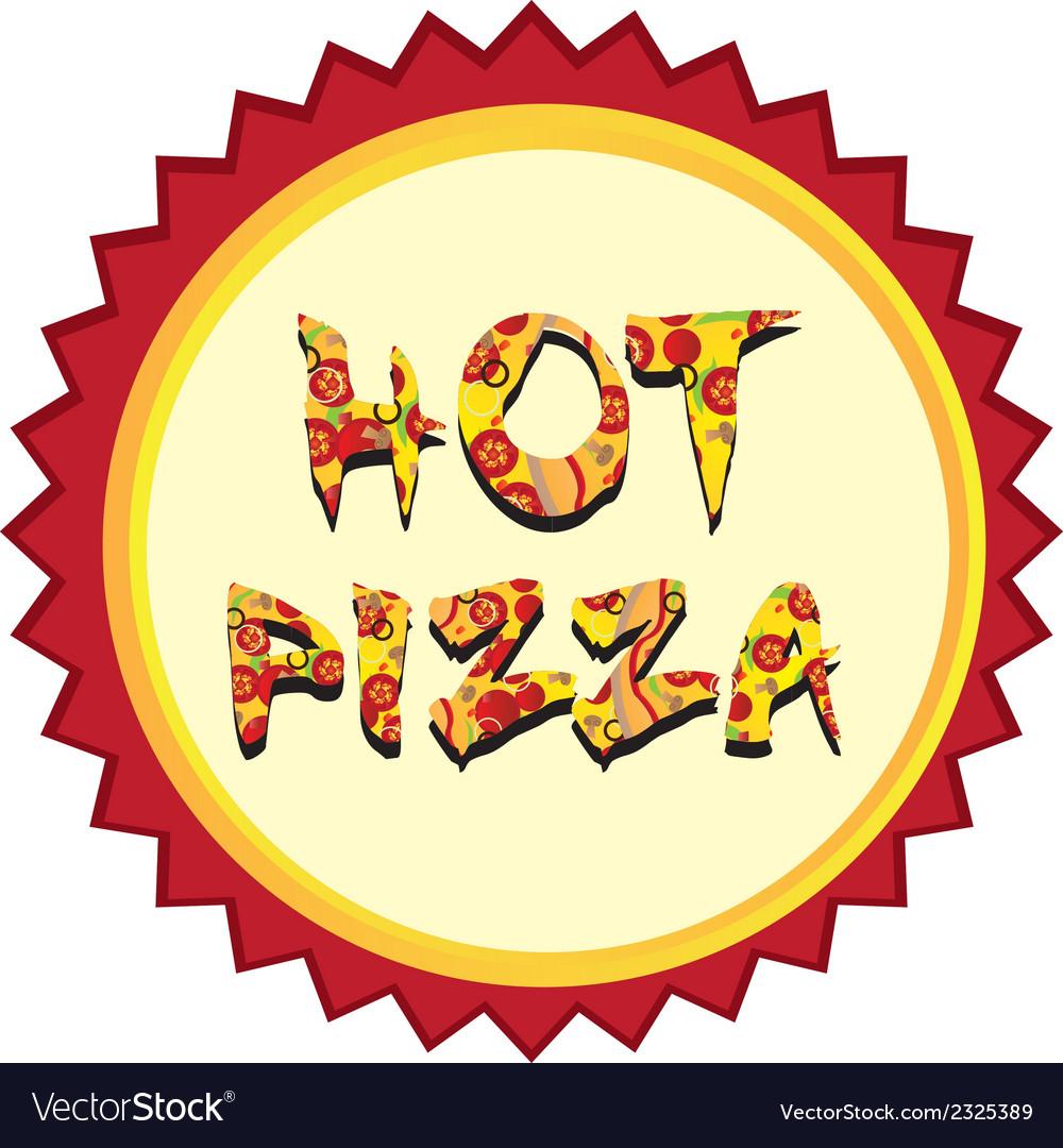Hot pizza tag vector | Price: 1 Credit (USD $1)
